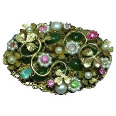 Coro Signed Floral Rhinestones Seed Pearl Layered Large Intricate Brooch Pin