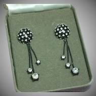 Nolan Miller Black Japanned Pave Rhinestone Tassel Pierced MIB Earrings