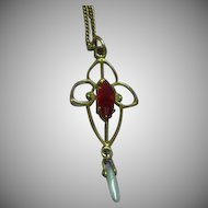 Edwardian 9 Carat Gold(375/1000) Lavaliere with Gem Set Ruby and Baroque Pearl Drop circa 1901-1915