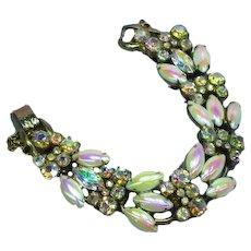 Vintage Juliana  D&E Pink Pearlized Milk Glass A/B Rhinestone Crystals 5 Link Bracelet