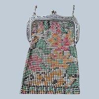 Art Deco Enamel Purse,Whiting and Davis Mesh Bag,1920s Flapper Era Handbag,Floral Design Collectible Purses