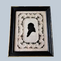 SPLENDID Antique Framed Silhouette Or Shadow Portrait Of A Gentlemen,Original Frame, Highly Decorative 18th Century Picture