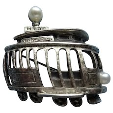 CHARMING Mid Century Signed Tortolani Figural Brooch,San Francisco Streetcar,Silver Trolley,Vintage Jewelry