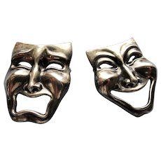 ART DECO Silver Theatre Mask Pins,Comedy Tragedy Theater Mask brooches,  Drama Mask Pins,Tragedy Comedy Pins,Statement Brooches,Collectible Vintage Jewelry