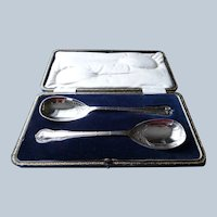 ELEGANT Pair of English Brite Cut Serving Spoons,Boxed Large Silver Spoons,Collectible Antique Spoons