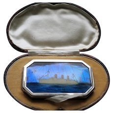 INCREDIBLE Art Deco Powder Compact,Empress Of Britain Ocean Liner,Butterfly Wing Powder Compact,Boxed Purse Compact,Shipping Lines, Collectible Vanity Items