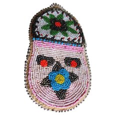 ANTIQUE American Native Tribal Hand Beaded Coin Change Purse,Pouch,Indian Artifact,Collectible Bead Work,Decorative,Collectible Americana