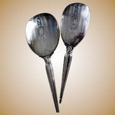 ELEGANT Antique Birks Sterling Silver Vanity Set,Hand Mirror and Brush,Monogram D,Lovely Engraving,Perfect Gift,Collectible Silver