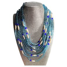 LUXURIOUS Italian Couture ORNELLA Venetian Art Glass Necklace,Multi Strand Blue Beads Day or Evening,Stunning Clasp,Collectible Jewelry