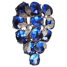 GORGEOUS Art Deco Large Dress or Fur Coat Clip Brooch,Sparkling Blue Czech Glass Stones,Detailed Silver Tone Leaves,Fashion Accessory,Collectible