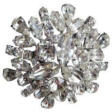 Vintage SHERMAN Signed Glittering Ice White Rhinestone Brooch,Prong Set,Brilliant Rhinestones,Dazzling Swarovski Crystal,COLLECTIBLE Jewelry
