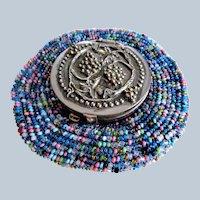LOVELY Antique Purse,Art Nouveau Tam O' Shanter Metal n Beaded Coin Purse Repoussé Silver Plated Top, Grapes Vines,Chateau Decor,Collectible