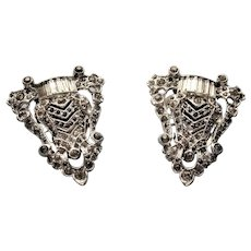 STUNNING Art Deco Pair of Dress Clips or Shoe Clips,Paste Rhinestones,Diamante Stones,Original 1920s 1930s Fashion Accessories,Collectible Jewelry