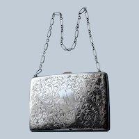 BEAUTIFUL Antique English Sterling Silver Purse,Aide Memoire,Silver Pencil,Engraved Silver Dance Purse,Business Card Holder,Monogram MK