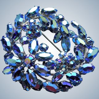 Vintage SHERMAN Signed Glittering AB BLUE Rhinestones,Multi Layered Swirl Brooch,Dazzling Swarovski Crystal,Collectible Jewelry,1950s Brooches