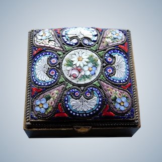 LOVELY Antique Micro Mosaic Small Hinged Box,Lidded Box,Incredible Workmanship,Highly Decorative Small Box,Collectible Antique Boxes