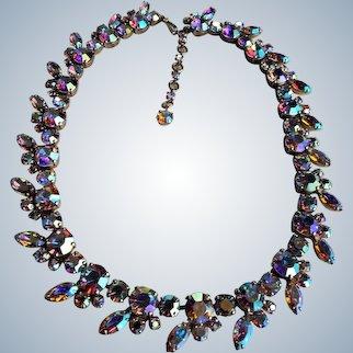 VINTAGE Signed SHERMAN Necklace,Prong Set,Aurora Borealis Brilliant Rhinestones,Dazzling Swarovski Crystal,Collectible Glittering Sherman Jewelry