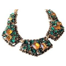 SPECTACULAR Barclay Rhinestone Necklace,Emerald Green,Golden Amber Swarovski Crystal Rhinestones,Vintage Statement Necklace,Collectible