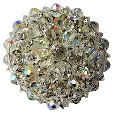 DAZZLING Crystal and Rhinestones Brooch,Mid Century Large Pin,Sparkling Crystals Pin, Day or Evening Brooch, Collectible Vintage Jewelry