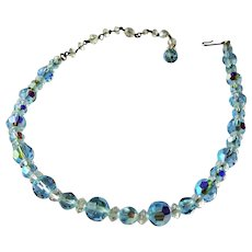 SPARKLING Vintage AQUAMARINE Blue Crystal Necklace,Vintage Blue Crystals,Dazzling Faceted Crystal Beads,Perfect Bridal Wedding Jewelry,Collectible Vintage Jewelry