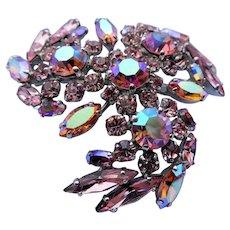 Vintage SHERMAN Signed Glittering PINK AB Rhinestones Brooch,Prong Set,Brilliant Rhinestones,Dazzling Swarovski Crystal,Collectible Jewelry