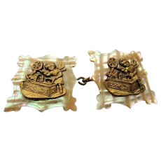 GORGEOUS Victorian Antique Cloak Clasp, Double Buckle Clasp, Mother of Pearl and Metal Cherubs, Collectible Clasps