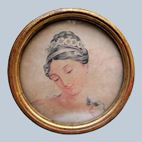 ANTIQUE Brocante 1820s Framed French Engraving Print,Decorative Round Gilt Frame, Original Ornate Fabric Back