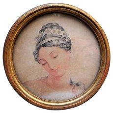 ANTIQUE Brocante 1820s Framed French Engraving Print,Decorative Round Gilt Frame, Original Ornate Fabric Back