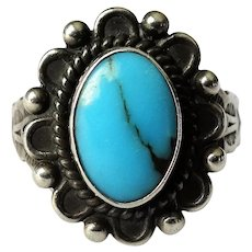 STRIKING Vintage Navajo Ring,Sterling Silver,Blue Kingman Turquoise, Lovely Workmanship, Artist Signed,Collectible South Western Jewelry