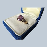 ELEGANT Mid Century Amethyst Ring,Lovely Textured Gold Setting, Daytime or Cocktail Ring,Collectible Vintage Jewelry