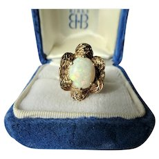 BEAUTIFUL Opal Ring,Mid Century Gold and Opal Cocktail or Daytime Ring,Textured Ruffled Setting,Large Colorful Opal,Collectible Fine Jewelry