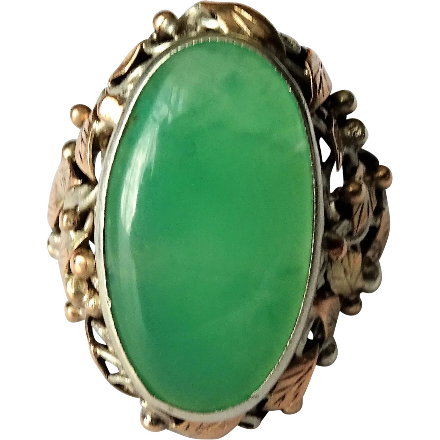 Sterling Silver Domed Chrysoprase Ring by Kingdom