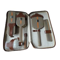 ART DECO Quality Grooming Travel Set,6 pc Set,Leather Traveling Train Case,Deco Silver Tone Metal and Enamel Vanity Dresser, Gift For Him