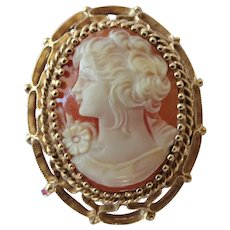 GORGEOUS Antique Cameo Brooch,Hand Carved Shell Cameo,Ornate 14 KT Gold Setting,Pin or Pendant,Collectible Antique Cameos,Vintage Jewelry