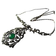 BEAUTIFUL Art Deco Necklace,Chrysoprase and Marcasite Necklace,Stunning Deco Design,German Made,Sterling Silver,Collectible Fine Jewelry