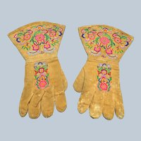 AMAZING Antique Native Indian Embroidered Gauntlets Gloves,Circa 1860s,Exceptional Embroidery Work,Antique Native Collectibles
