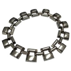 VINTAGE Dramatic Chrome Necklace, Art Deco, Modernist, Machine Age, Industrial Design, Stunning Design,Collectible Jewelry