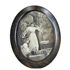 BEAUTIFUL Antique French Picture,Lovely Lady and Pretty Little Girl, Metal Wood Grain Frame, French Decor,Farmhouse Decor