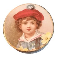 Small Round 19th Century Trinket Box for Dolls