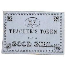 19th Century Reward of Merit - My Teacher's Token