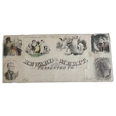 1830's Hand Colored Reward of Merit