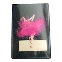 French Handmade Pink Feather Ballet Dancer Placecard