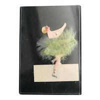 French Handmade Green Feather Ballet Dancer Placecard