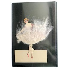 French White Feather Tutu  Ballet Dancer Placecard