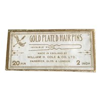 Early 20th Century Box of Gold Plated Hairpins