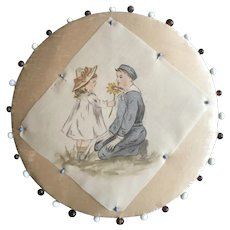 19th c Silk Pin Disc with Handpainted Image