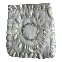 White Silk Hanky Pouch with French Ribbonwork Decoration