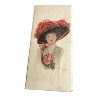 "Valentine's Day Edwardian Chocolate Box ""Lady in Red Hat"""