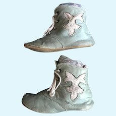 Antique Blue and Pink Leather Baby Shoes --Just Right for Dolls