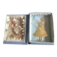 Vintage Dresden Decorated Christening Souvenir Box